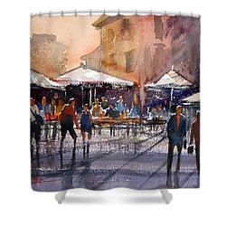 Outdoor Market - Rome Shower Curtain by Ryan Radke