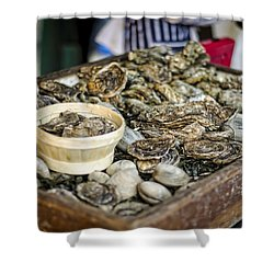 Oysters At The Market Shower Curtain by Heather Applegate