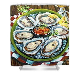 Oysters On The Half Shell Shower Curtain by Dianne Parks