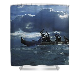 Paddlers At Sunset Shower Curtain by Bob Abraham - Printscapes