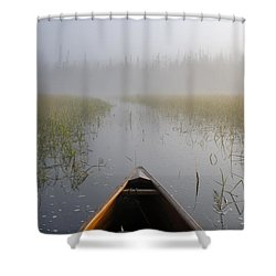 Paddling Into The Fog Shower Curtain by Larry Ricker