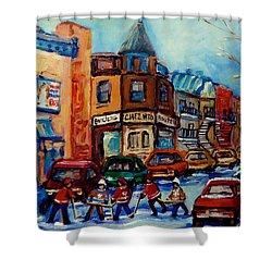 Paintings Of Montreal Hockey On Fairmount Street Shower Curtain by Carole Spandau