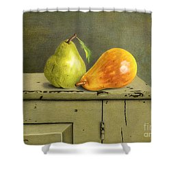 Pair Of Pears Shower Curtain by Sarah Batalka