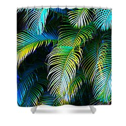 Palm Leaves In Blue Shower Curtain by Karon Melillo DeVega