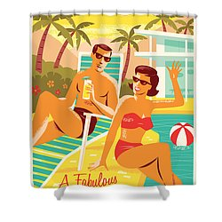Palm Springs Retro Travel Poster Shower Curtain by Jim Zahniser
