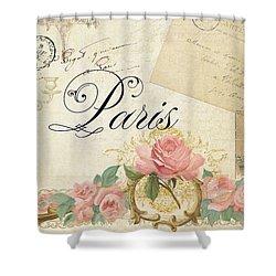 Parchment Paris - Timeless Romance Shower Curtain by Audrey Jeanne Roberts