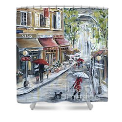 Poodle In Paris Shower Curtain by Marilyn Dunlap