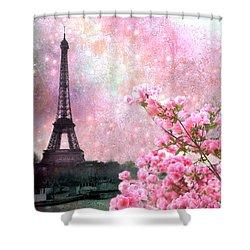 Paris Eiffel Tower Cherry Blossoms - Paris Spring Eiffel Tower Pink Blossoms  Shower Curtain by Kathy Fornal