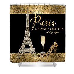 Paris Is Always A Good Idea - Audrey Hepburn Shower Curtain by Audrey Jeanne Roberts