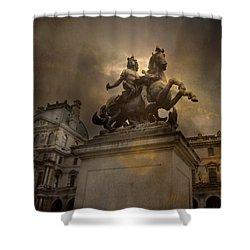 Paris - Louvre Palace - Kings Of Paris - King Louis Xiv Monument Sculpture Statue Shower Curtain by Kathy Fornal