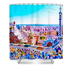Park Guell Watercolor Painting Shower Curtain by Marian Voicu
