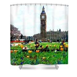 Parliament Square London Shower Curtain by Kurt Van Wagner