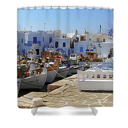 Paros Shower Curtain by Christo Christov