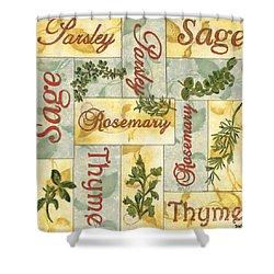 Parsley Collage Shower Curtain by Debbie DeWitt