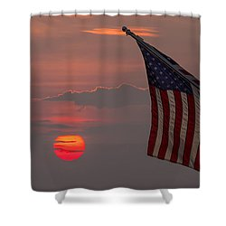 Patriotic Sunset Shower Curtain by Mark Papke
