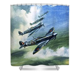 Patrolling Flight Of 416 Squadron, Royal Canadian Air Force, Spitfire Mark Nines Shower Curtain by Wilf Hardy
