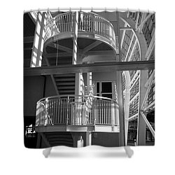Pavilion Stairs At The Ageas Rose Bowl Shower Curtain by Terri Waters