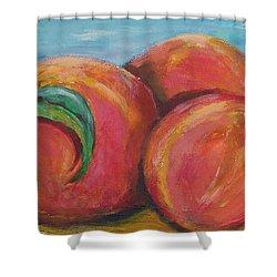 Peaches Shower Curtain by Eric  Schiabor