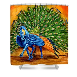 Peacock Pegasus Shower Curtain by Melissa A Benson