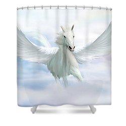 Pegasus Shower Curtain by John Edwards