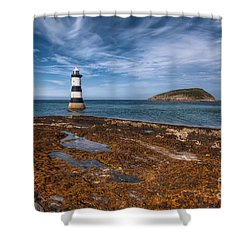 Penmon Lighthouse Shower Curtain by Adrian Evans
