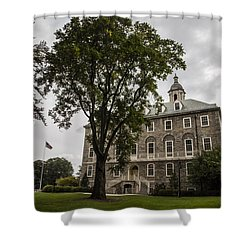 Penn State Old Main And Tree Shower Curtain by John McGraw