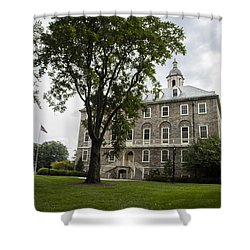 Penn State Old Main From Side  Shower Curtain by John McGraw