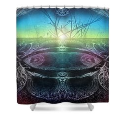 Perpetual Motion Landscape Shower Curtain by Otto Rapp
