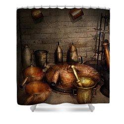 Pharmacy - Alchemist's Kitchen Shower Curtain by Mike Savad