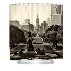 Philadelphia Benjamin Franklin Parkway In Sepia Shower Curtain by Bill Cannon