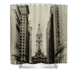 Philadelphia City Hall From South Broad Street Shower Curtain by Bill Cannon