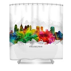 Philadelphia Pennsylvania Cityscape 12 Shower Curtain by Aged Pixel