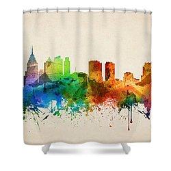 Philadelphia Pennsylvania Skyline 05 Shower Curtain by Aged Pixel