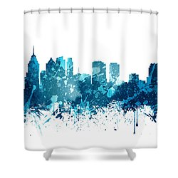 Philadelphia Pennsylvania Skyline 19 Shower Curtain by Aged Pixel