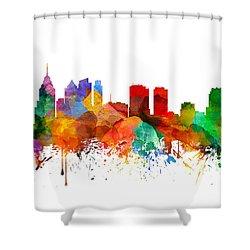 Philadelphia Pennsylvania Skyline 21 Shower Curtain by Aged Pixel