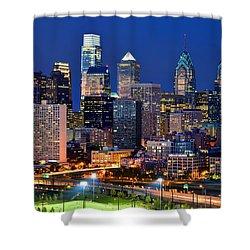 Philadelphia Skyline At Night Shower Curtain by Jon Holiday