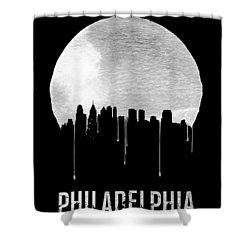Philadelphia Skyline Black Shower Curtain by Naxart Studio