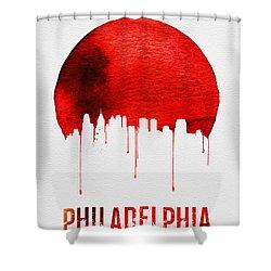 Philadelphia Skyline Redskyline Red Shower Curtain by Naxart Studio