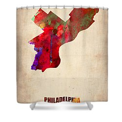 Philadelphia Watercolor Map Shower Curtain by Naxart Studio