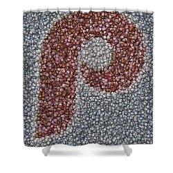 Philidelphia Phillies Baseballs Mosaic Shower Curtain by Paul Van Scott