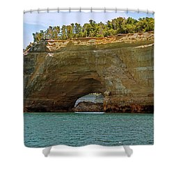 Pictured Rocks Arch Shower Curtain by Michael Peychich