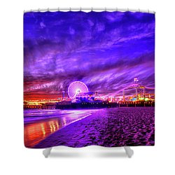 Pier Of Lights Shower Curtain by Midori Chan