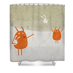 Pigs And Bunnies Shower Curtain by Fuzzorama