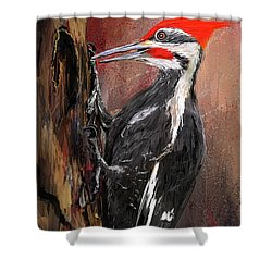 Pileated Woodpecker Art Shower Curtain by Lourry Legarde