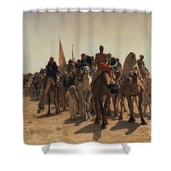 Pilgrims Going To Mecca Shower Curtain by Leon Auguste Adolphe Belly
