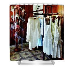 Pinafores And Bonnets In General Store Shower Curtain by Susan Savad