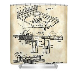 Pinball Machine Patent 1939 - Vintage Shower Curtain by Stephen Younts