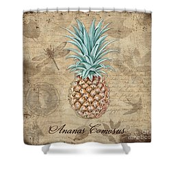 Pineapple, Ananas Comosus Vintage Botanicals Collection Shower Curtain by Tina Lavoie