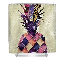 Pineapple Brocade II Shower Curtain by Mindy Sommers