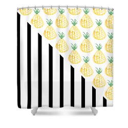 Pineapples And Stripes Shower Curtain by Linda Woods